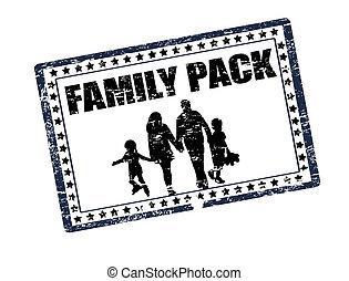 familia , paquete, estampilla