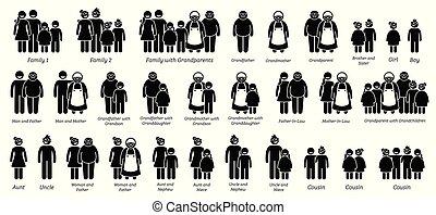 familia , parientes, y, relaciones, grande, icono, set.