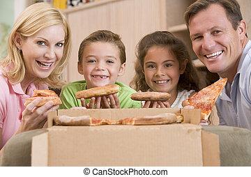 familia que come, pizza, juntos