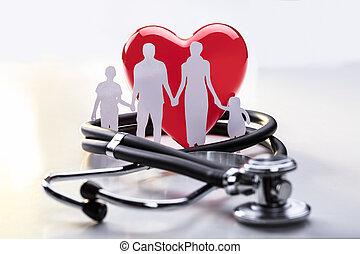 familia , recorte, y, estetoscopio