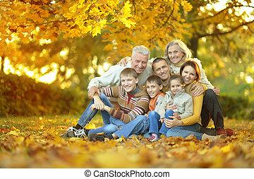 familia , relajante, en, otoño, parque