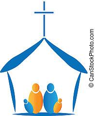 familia , rezando, en, el, iglesia, icono