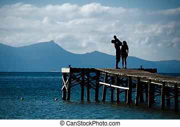 familia , silueta, mar, paisaje