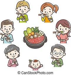 familia , sonriente, sukiyaki, comida, ilustración