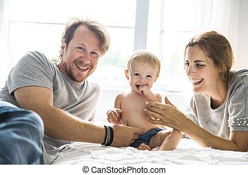 familia , tener diversión, cama, con, cama