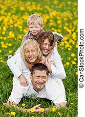 familia , tener diversión, en, naturaleza