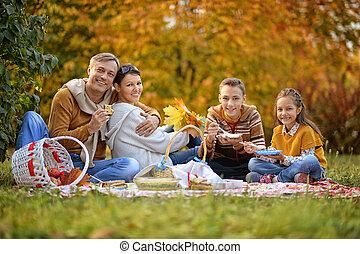 familia , tener un picnic, en el parque