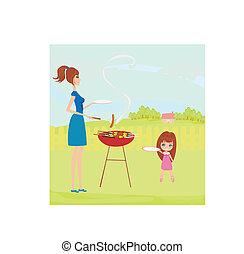 familia , tener un picnic, en, un, parque