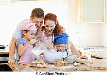 familia , teniendo, un, gran tiempo, hornada, juntos