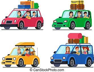 familia , viajar, cars., feliz, gente, viaje, en, coche., vacaciones, viaje, con, madre y padre, en, minivan, caricatura, vector, ilustración