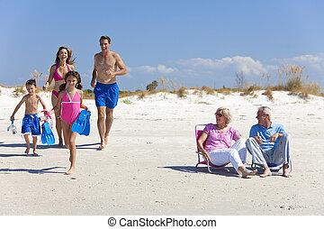 familia , y, abuelos, padre, madre, playa, niños