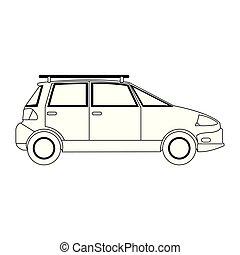 Familiar car vehicle sideview black and white - Familiar car...