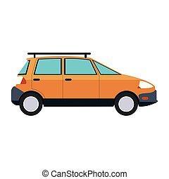 Familiar car vehicle sideview symbol vector illustration...