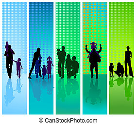 familias, en, azul y verde, backgrou
