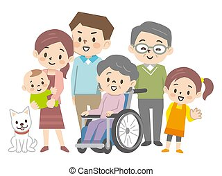 familie, abbildung, three-generation