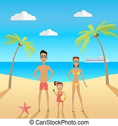 familie, abbildung, vacations., vektor, während, sandstrand, glücklich