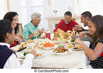 familie, alles zusammen, an, weihnachtsabendessen