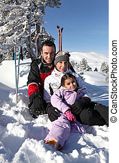 familie, auf, a, fahren feiertag schi