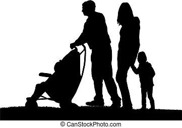 familie, auf, a, walk.