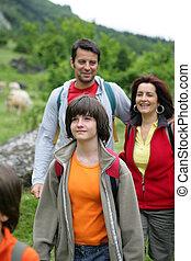 familie, auf, a, wandern, reise
