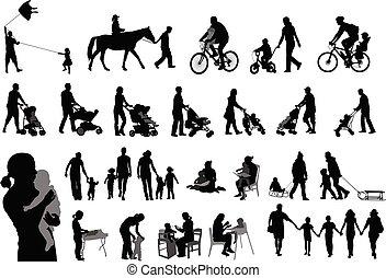 familie, ausgabe, ihr, silhouetten, eltern, zeit, kinder