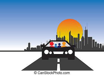 familie, automobilen, og, byen, begreb, vektor, grafik