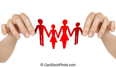 familie, avis, hænder