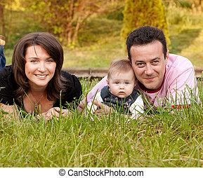 familie beeltenis, -, moeder, vader en dochter
