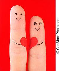 familie, begreb, -, en, mand, og, en, kvinde, greb, den, rødt hjerte, mal, hos, fingre, og, isoleret, på, rød baggrund