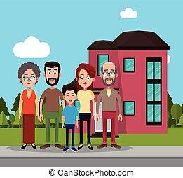 familie, bei, haus, wohnhaeuser
