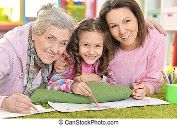 familie, boden, drei, eins, generationen, dr, liegen, frauen