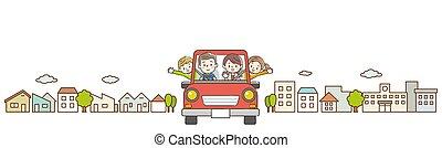 familie, cityscape, baggrund., automobilen, morsom, holiday., kørende, weekend, rød