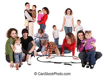 familie, collage, mit, spielzeugeisenbahn