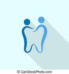 familie, dental, logo, ikone, wohnung, stil