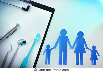 familie, dentale versicherung, auf, tischplatte, mit, licht, oberseite