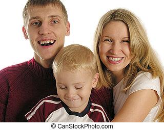 familie, drei, freigestellt
