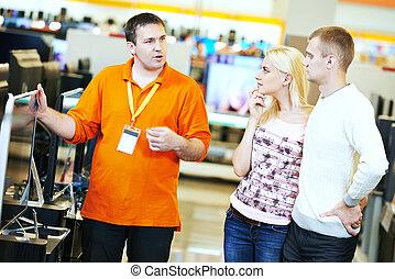 familie einkaufen, an, elektronik, supermarkt