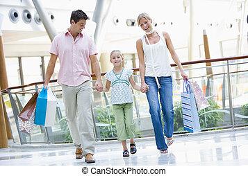 familie einkaufen, in, einkaufszentrum