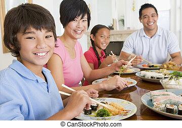 familie essen, a, mahlzeit, zusammen