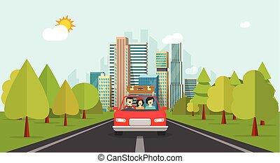 familie, færdes indenfor vogn, lejlighed, cartoon, firmanavnet, glad familie, hos, barnet, rejse, sammen, via, automobil, vektor