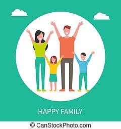 familie, far, sammen., tid, mor, spend, glade