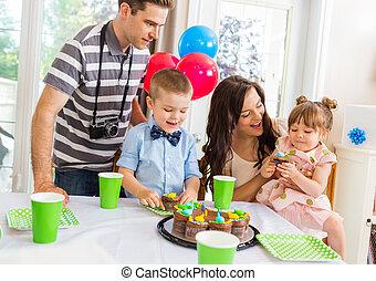 familie, fejr, fødselsdag gilder, hjem hos