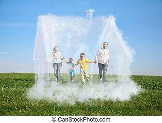 familie fire, løb, på, græs, og, drøm, sky, hus, collage
