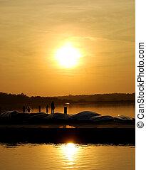 familie fiske, hos, solnedgang