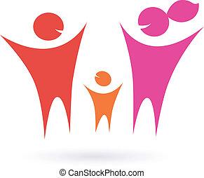 familie, folk, samfund, ikon