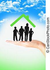 familie, forsikring, begreb