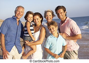 familie, generation, drei, porträt, feiertag, sandstrand