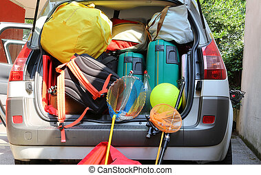 familie, gepäck, auto, koffer, abfahrt, feiertage