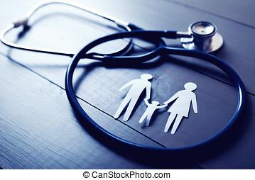 familie gesundheit, sorgfalt, und, versicherung, begriff