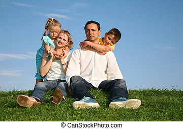 familie, gras, himmelsgewölbe